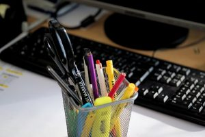 Pens on office desk