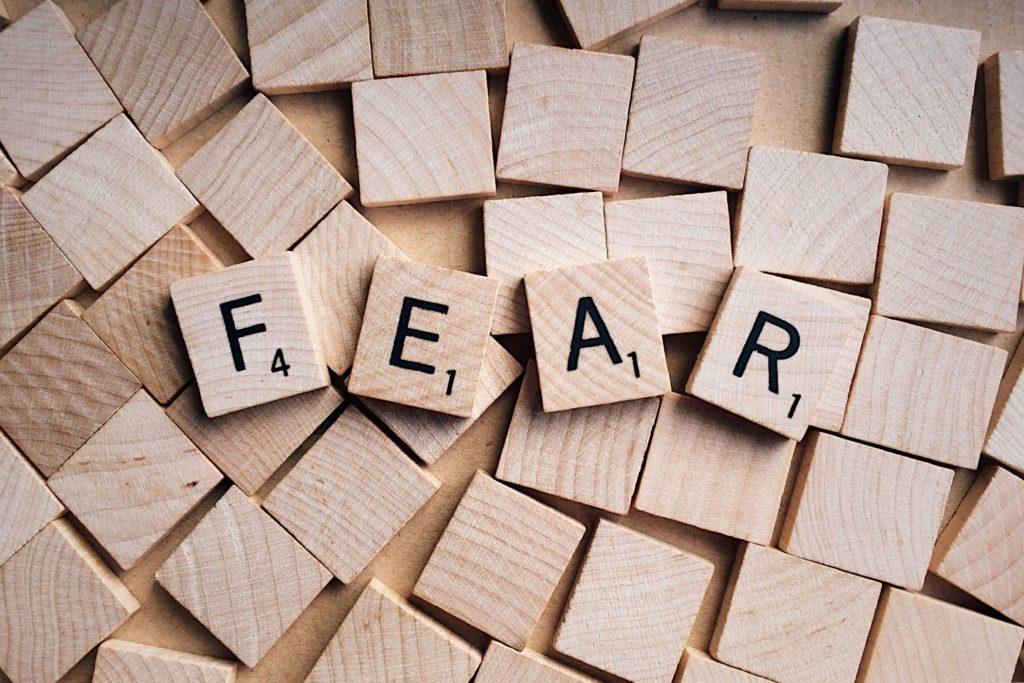Letters spelling fear.