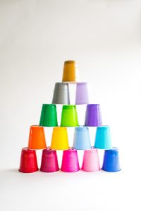 A stack of cups.