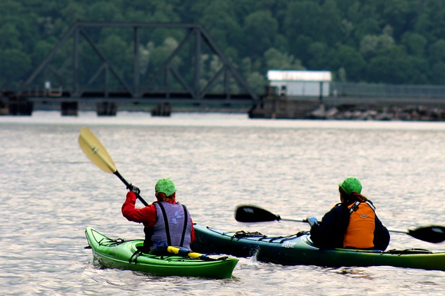 People kayaking.