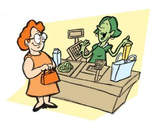 A woman talking with the store clerk