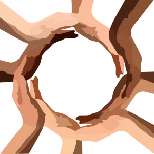 diverse people holding hands forming a cricle
