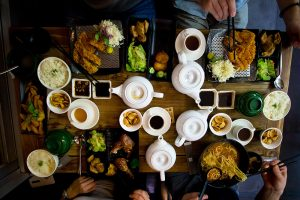 Table of food in one of the top Manhattan Beach restaurants