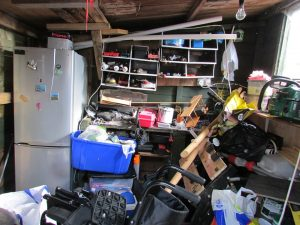 Garage filled with old items.