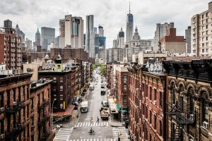 A skyline photo of Manhattan.