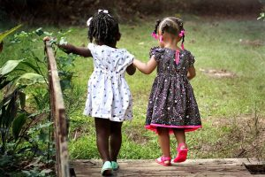 Two little girls in a park