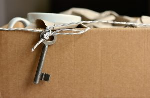 Moving box with a key.