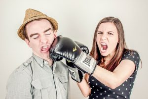A girl having an argument with a guy