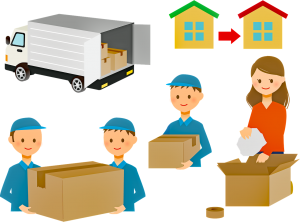 movers are packing a household