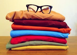 Folded clothes in a pile