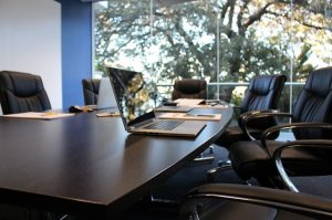 Office space with large meeting table