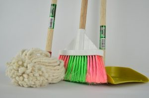 broom and cleaning tools