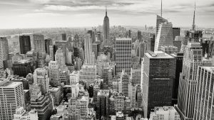 black and white Manhattan landscape