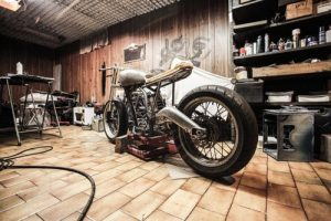 A motorbike inside a garage