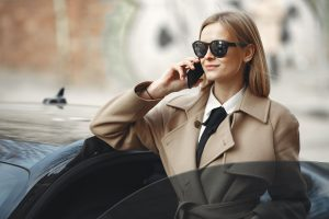 A businesswoman talking on the phone