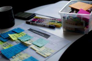 sticky notes on paper