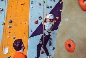 Girl at the climbing wall