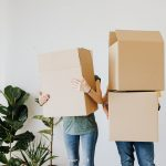 Couple use specialty moving boxes