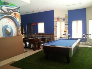 room with a pool table