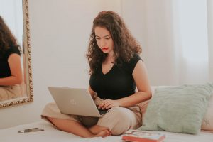a girl with a laptop