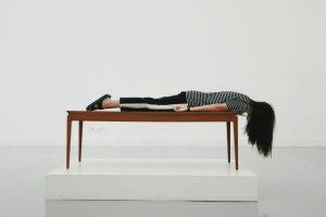 A girl meditating