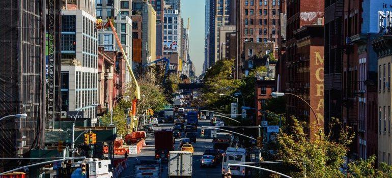 A busy downtown Manhattan street
