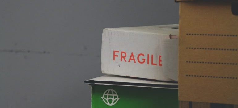 fragile label on a moving box