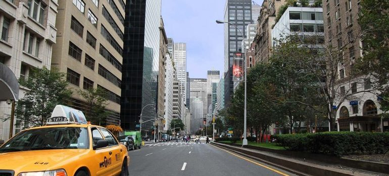 a street in a city center of new York