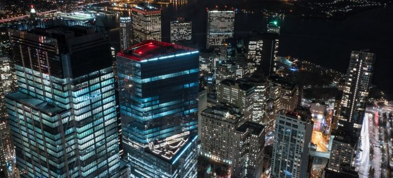 Aerial view of Financial District at night - Financial District movers