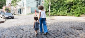A family of two in a New York street