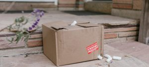 a cardboard moving box