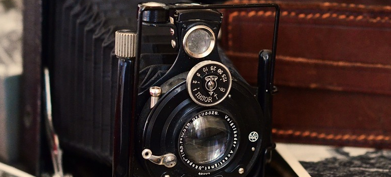 old antique camera as one of the items found in storage units