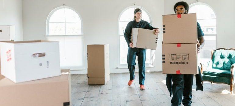 men holding boxes - organize a long-distance move during peak season