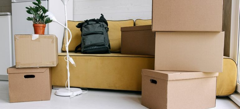 moving boxes around a couch